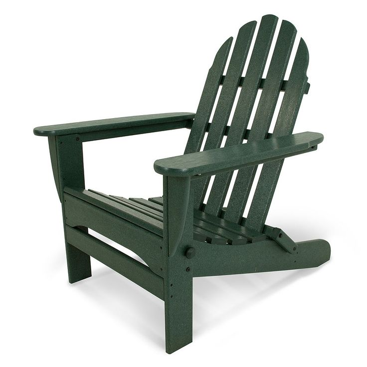 POLYWOOD Classic Folding Adirondack Chair - Outdoor, Green