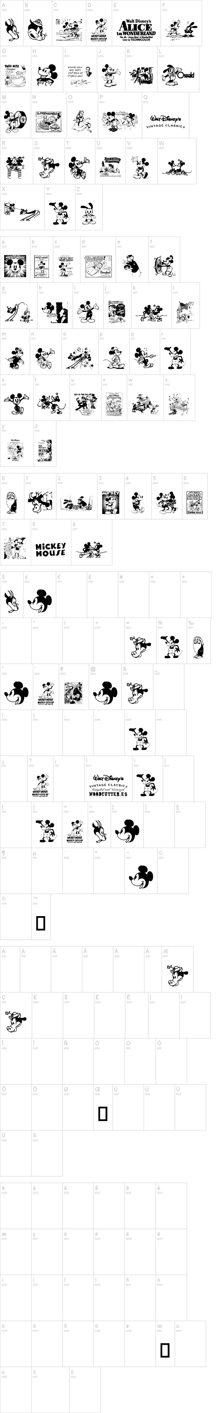 Vintage Classics Disney free font. Mickey, Walt and Alice in Wonderland.