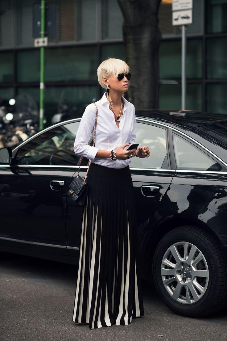 Black and White pants/black shirt.....MMFW S/S15 Esther Quek