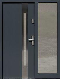 Drzwi zewnętrzne z doświetlem dostawką boczną model  454,2 w kolorze RAL 7016