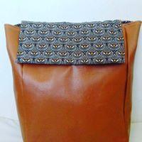Leather backpack with Shweshwe flap
