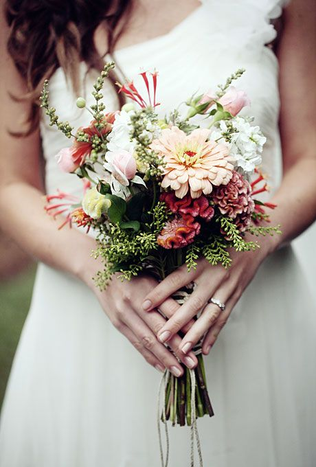 Peaches and cream-colored wildflower wedding bouquet by Eleise Theuer Photography