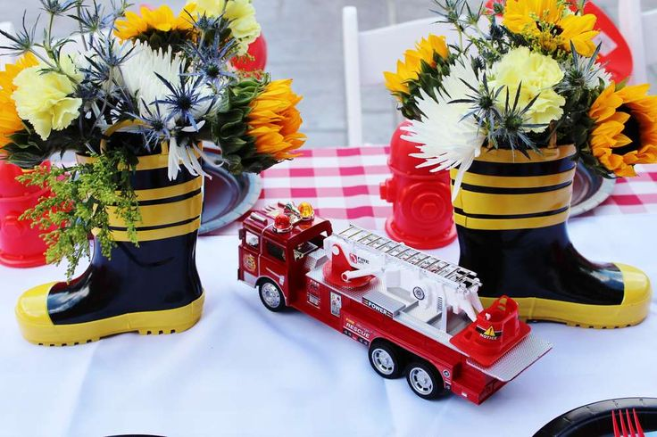 Decorations at a firefighter birthday party! See more party ideas at CatchMyParty.com!