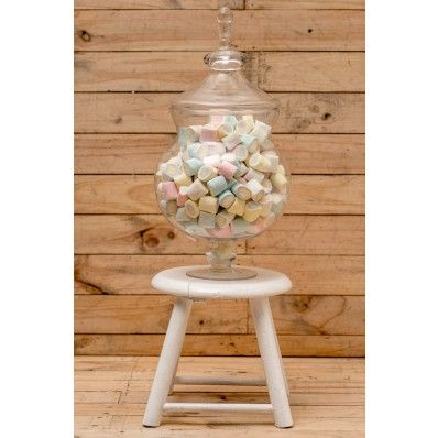 Pastel Jumbo Marshmallows & Candy Jar. Rose is our most popular candy jar measuring 47 cm high and holds 1 kg jumbo marshmallows $59.90 & free delivery (Australia only ) www.contents.com.au