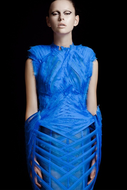 """Wearable Art - sculptural blue bird dress with feathery fabric texture & pattern detail // Mark Goldenberg, """"woven bird"""""""