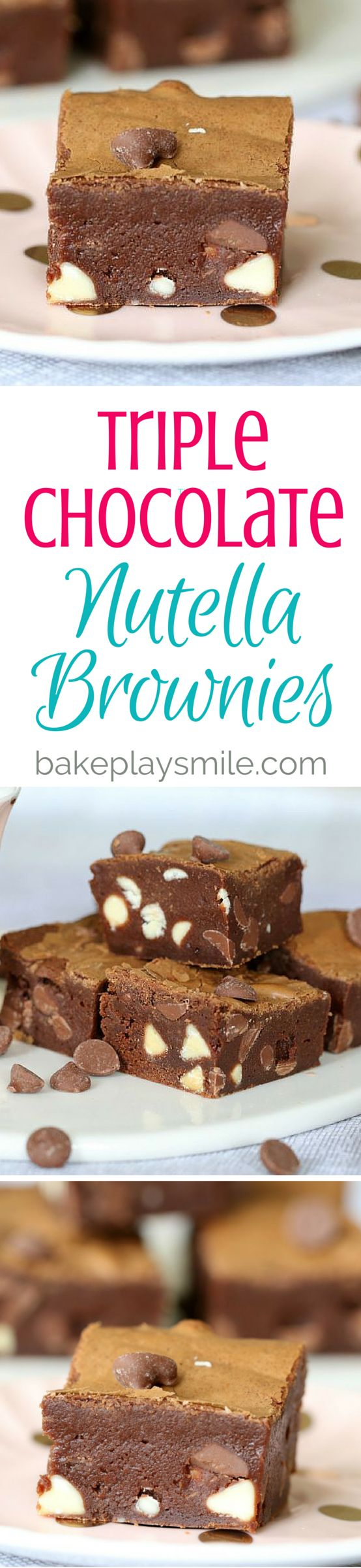 Triple Chocolate Nutella Brownies!!!!!!! Totally over the top, rich and decadent... these Triple Chocolate Nutella Brownies are absolutely delicious!!! #triple #chocolate #brownies #nutella #recipe #easy #dessert #thermomix #conventional