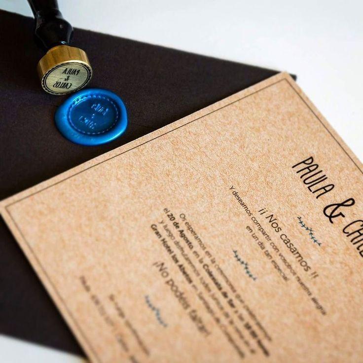 Diseño de invitación y sello para el enlace de Paula & Carlos