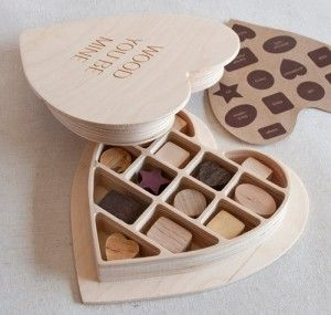 Wooden Valentines chocolates... all different  kinds of wood.. cheeesy but it'd probably get you some points