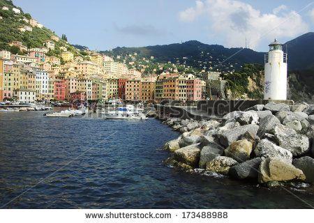 Camogli village from touristic harbor - stock photo