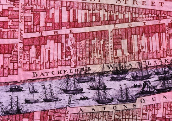 John Rocque's Dublin - Made mainstream by its inclusion on the old £ 10 note, Rocque's map of Dublin from 1756 (his Exact Survey of the City and Suburbs of Dublin to give it the exact title) was a major cartographic achievement in its day. It's historic value lies in how it captured the point in time when the cityscape was being transformed from a medieval warren to the designed streetscapes of the Georgian era.