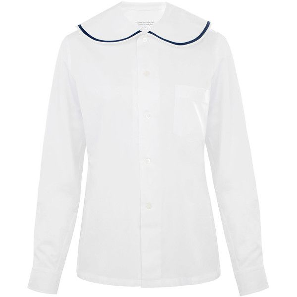 Comme Des Garçons White Oversized Peter Pan Collar Shirt (20,915 INR) ❤ liked on Polyvore featuring tops, white cotton shirt, white collared shirt, long sleeve button down shirts, slim fit button down shirts and long sleeve collared shirt