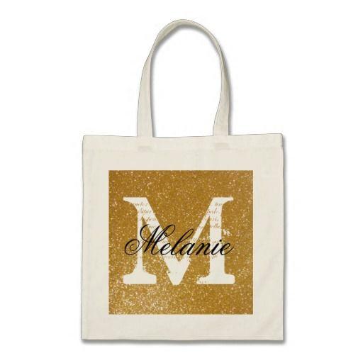 Personalized monogram tote bag | faux gold glitter