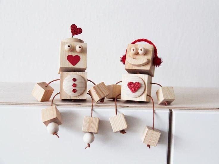Robotter i træ, DIY, Valentine's Day DIY, Valentine's Day gift, mors dag gave, DIY project, kærlighed gave