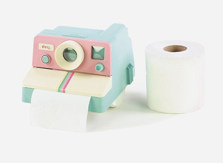 Polaroll Color Toilet Paper Holder by Doiy. Quirky, retro, and perfect for adding some humor to your porcelain throne room. The Polaroll toilet paper holder from Doiy resembles an old-school polaroid camera and dispenses the toilet paper like the actual camera! It's entertaining AND useful!  http://zocko.it/PD0h
