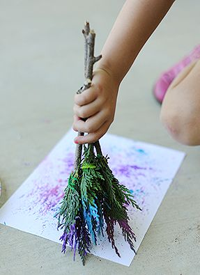 Make Natural Paintbrushes for Kids Art ....add other paint applicators; cookers, feathers, sticks
