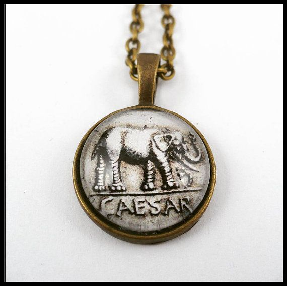 #ArtPassionBijoux by Sara, #italian #handmade #jewelry inspiredBy #art - #Ancient #Rome #coin #medallion, Caesar, bronze necklace, #elephant #archaeology #history