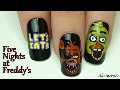 *Foxy & Chica* Nails - Five Nights at Freddy's inspired Nail art - YouTube