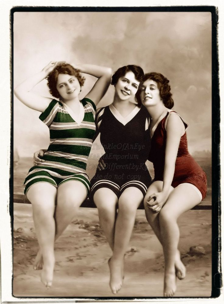 Three Bathing Beauties,  Swimmer vintage photo digital download. $2.50, via Etsy.