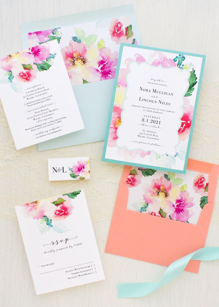 what to charge for wedding invitations%0A Seafoam Floral Wedding Invitations