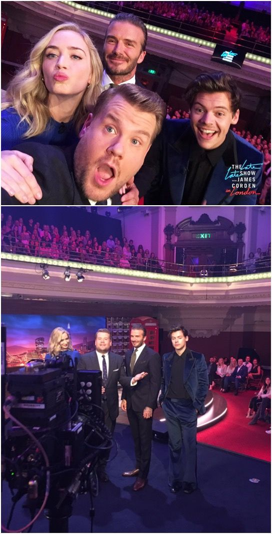 NEW | Harry with David Beckham and Emily Blunt at The Late Late Show with James Corden in London. Follow rickysturn/harry-styles
