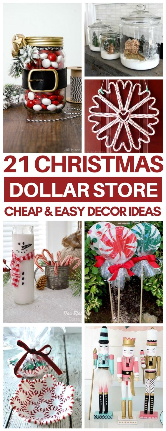 I cannot believe these Christmas decor ideas are so cheap & easy to make! I'm definitely making a few of these DIY dollar store christmas decorations like the peppermint candy bowl and candy cane wreath! #christmasdecor #dollarstore