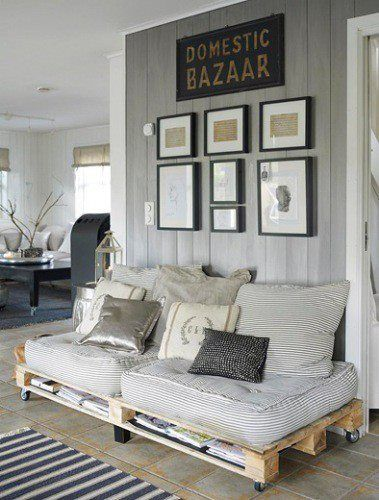 What a smart and money-saving way to decorate your living room - Pallet Sofa!
