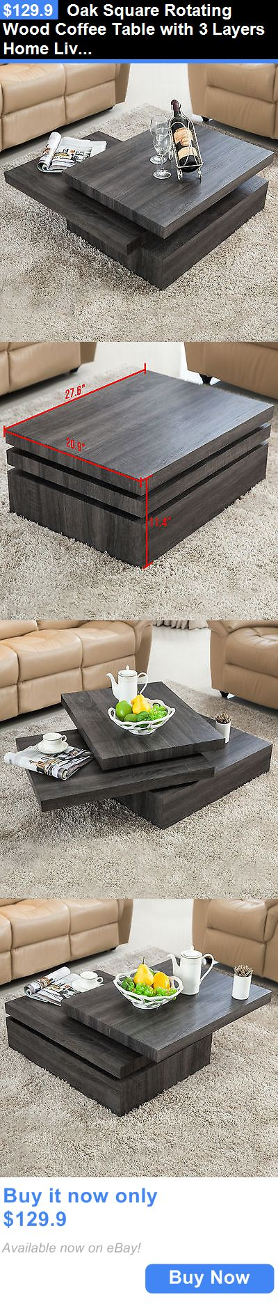 furniture: Oak Square Rotating Wood Coffee Table With 3 Layers Home Living Room Furniture BUY IT NOW ONLY: $129.9