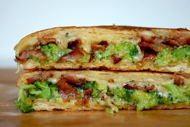 Grilled Cheese Social - The Slow Dance: Piece of foccacia, sliced in half - 2 tbsp of crumbled cooked bacon - about a cup of sliced Red Dragon Mustard seed and ale cheddar cheese - 2 tbsp of steamed broccoli - 2 pats of salted butter - Grilled - YES PLEASE!