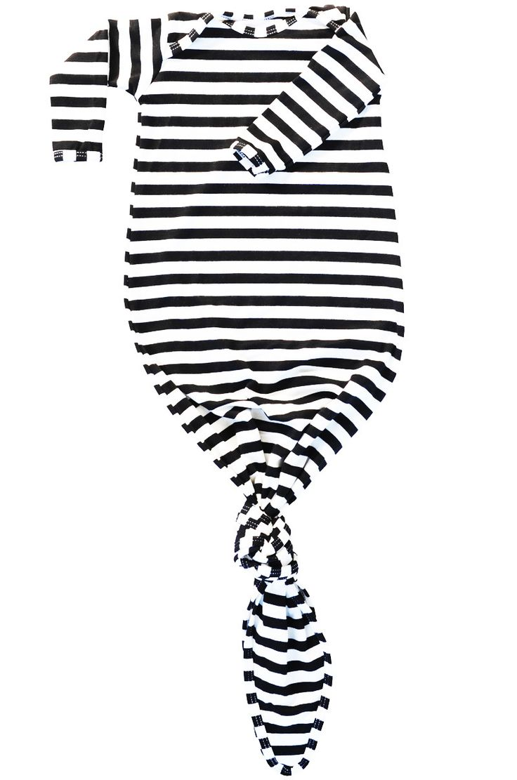 back in stock! perfect baby shower gift - knotted baby gown in black and white stripes by candy kirby designs