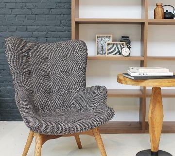 Wagon - grijze retro fauteuil Loods 5 Banken, 295 euro