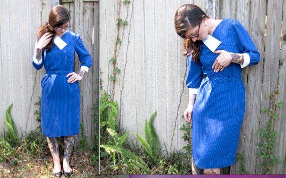 Vintage / / blaues schiere Kleid / / 70er Glam-Mad von ThriftShark