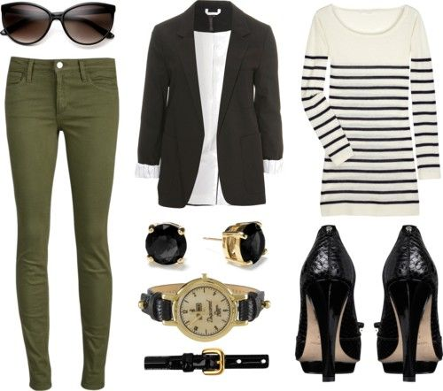 Love olive! My new fav color. My olive jeans are my blue jean replacement. I'd toss in some burnt orange, just a tad. Could even change the heels to boots.