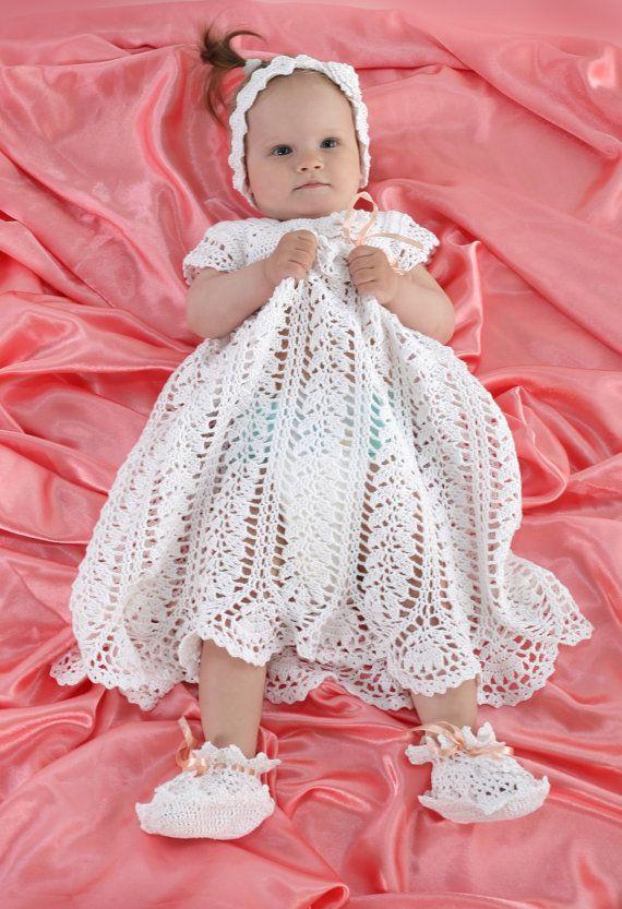 Vestito battesimo uncinetto lungo abito bianco battesimo