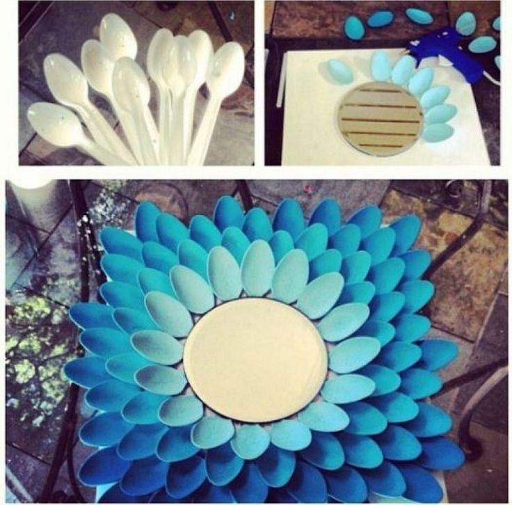 Las 25 mejores ideas sobre arte con cucharas de pl stico for Decoracion de espejo con material reciclable
