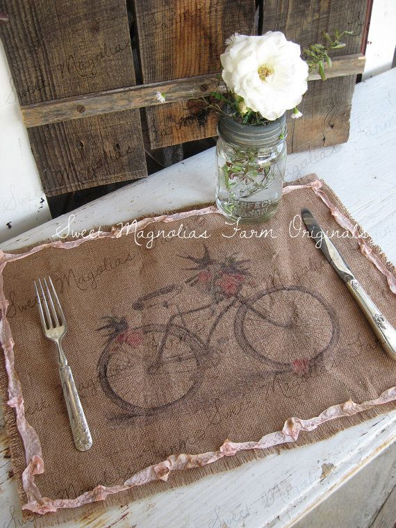 Burlap Table Placemats Kitchen Bicycle Birds Pink Floral