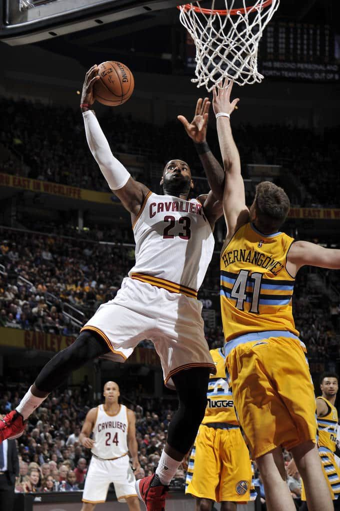 CLEVELAND, OH - FEBRUARY 11: LeBron James #23 of the Cleveland Cavaliers shoots the ball against the Denver Nuggets on February 11, 2017 at Quicken Loans Arena in Cleveland, Ohio.