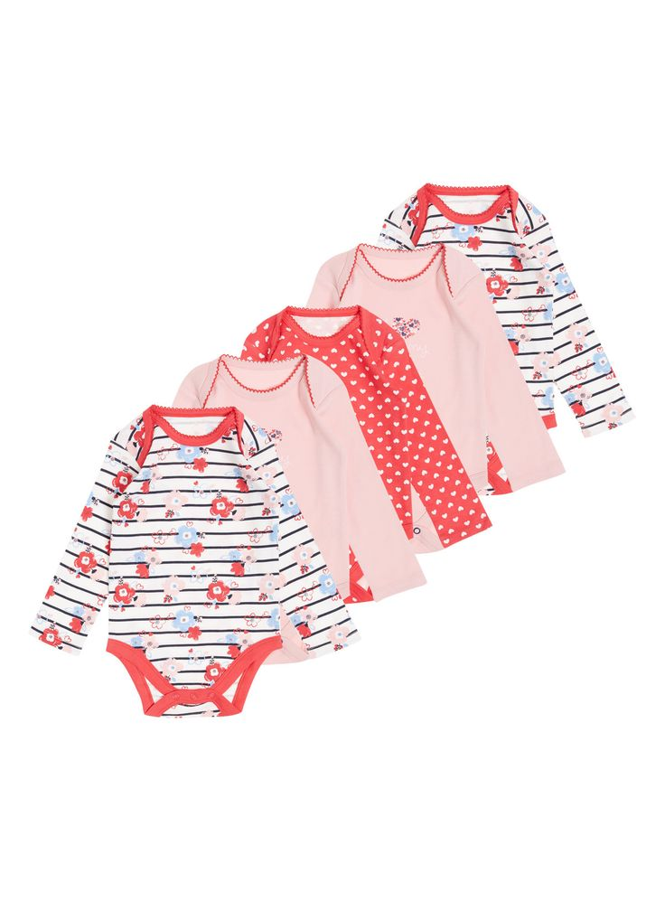 Liven up a little one's collection with these long sleeved bodysuits. Featuring popper fastenings for easy changing, they are finished in white and red hues with floral striped and polka dot prints.  Girls red long sleeve floral bodysuit Pack of 5 Pure cotton Floral striped and polka dot designs Popper fastenings Keep away from fire