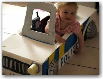 Cardboard box police car - awesome car made out of giant box