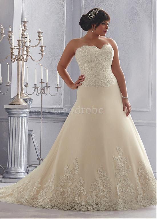 Robe de mariée grande taille sexy en tulle sans manches - photo 1