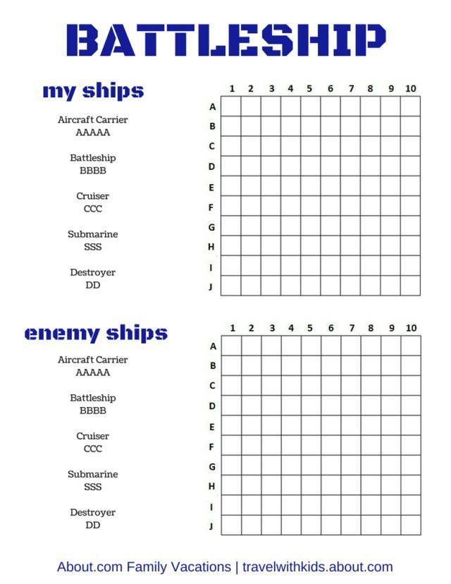 Free Printable Battleship Game | Bye-Bye Boredom! Free Print & Play Car Games