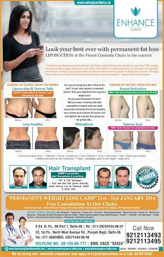 Permanent Fat loss camp.  Hair Regrowth Results Visit http://www.enhanceclinics.in for more.