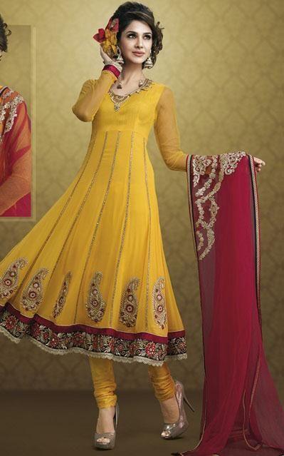$84.35 Yellow Faux Georgette Embroidery Anarkali Salwar Kameez 24385