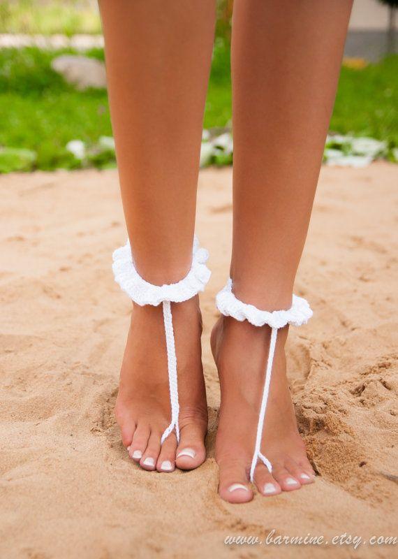 Witte haak barefoot sandaal bruids schoenen voet juwelen