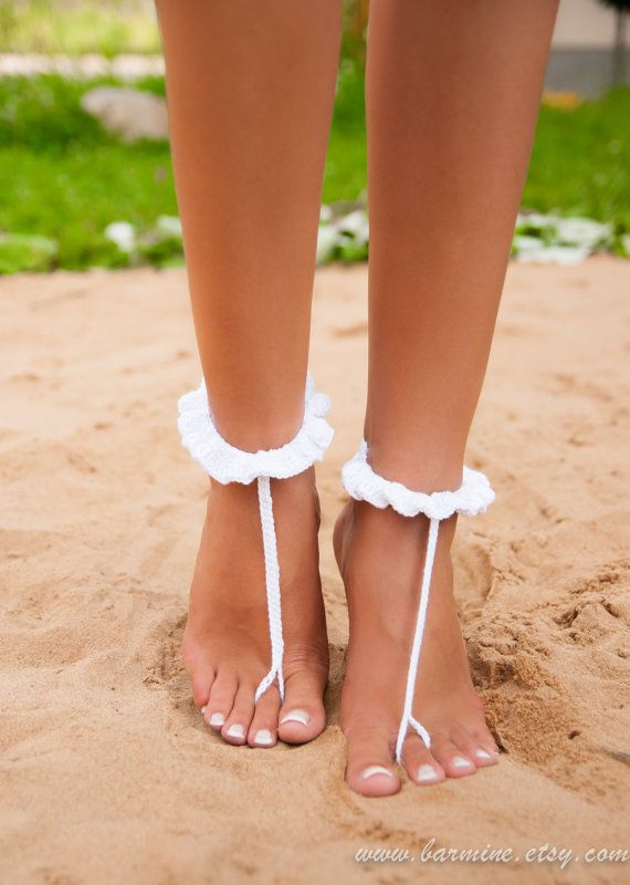 White crochet barefoot sandal-Bridal shoes-Foot jewelry-Footless sandals-Beach wedding barefoot sandals-Foot thongs-Nude shoes-Ruffle-Lace