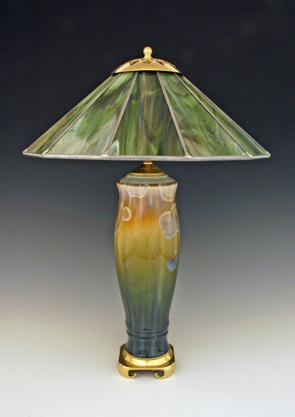 "BILL CAMPBELL Pottery 23"" Lamp Crystalline Porcelain/Stained Glass ACTUAL Piece"