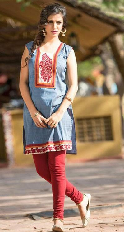 Blue Cotton Short Kurti   37319