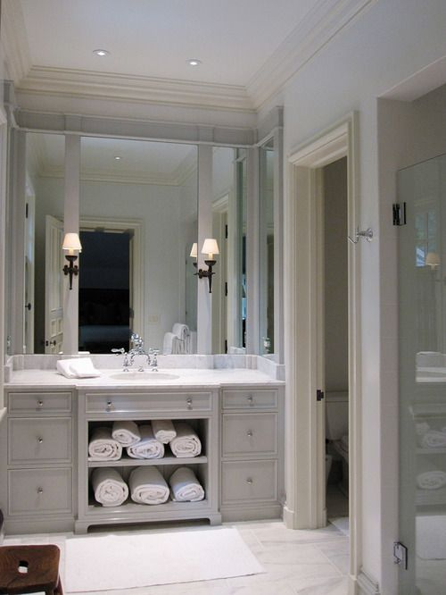 love the bathroom color and under cabinet storage