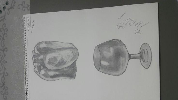 Karakalem çizim dolma biber  kadeh
