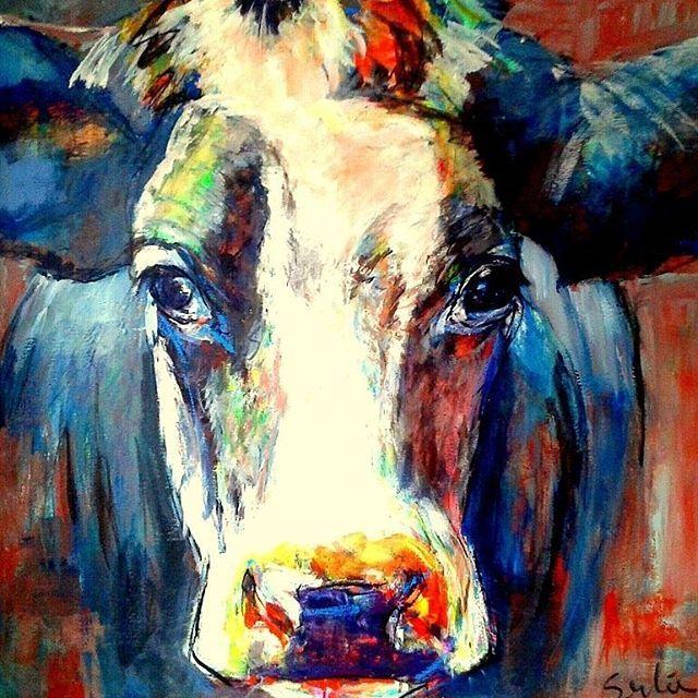 Cow, 1.00 x 1.00m. #art #artistfeature #cow #cows