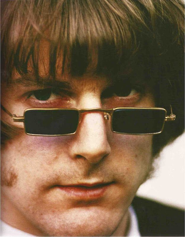 """Musician Roger McGuinn of """"The Byrds"""" wearing 1960s wire rim """"granny glasses"""""""